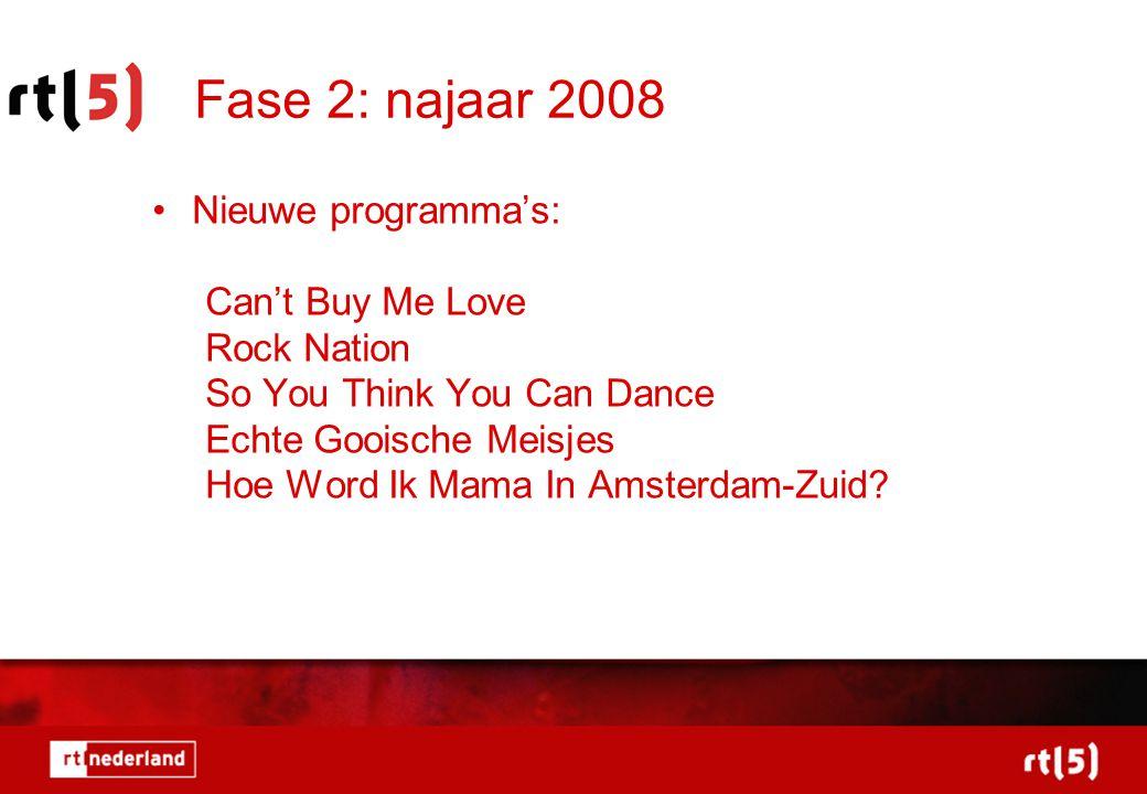 Fase 2: najaar 2008 •Nieuwe programma's: Can't Buy Me Love Rock Nation So You Think You Can Dance Echte Gooische Meisjes Hoe Word Ik Mama In Amsterdam-Zuid?