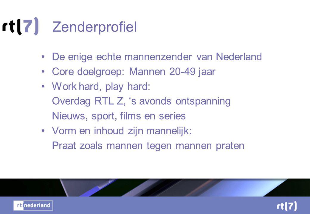 Zenderprofiel •De enige echte mannenzender van Nederland •Core doelgroep: Mannen 20-49 jaar •Work hard, play hard: Overdag RTL Z, 's avonds ontspanning Nieuws, sport, films en series •Vorm en inhoud zijn mannelijk: Praat zoals mannen tegen mannen praten