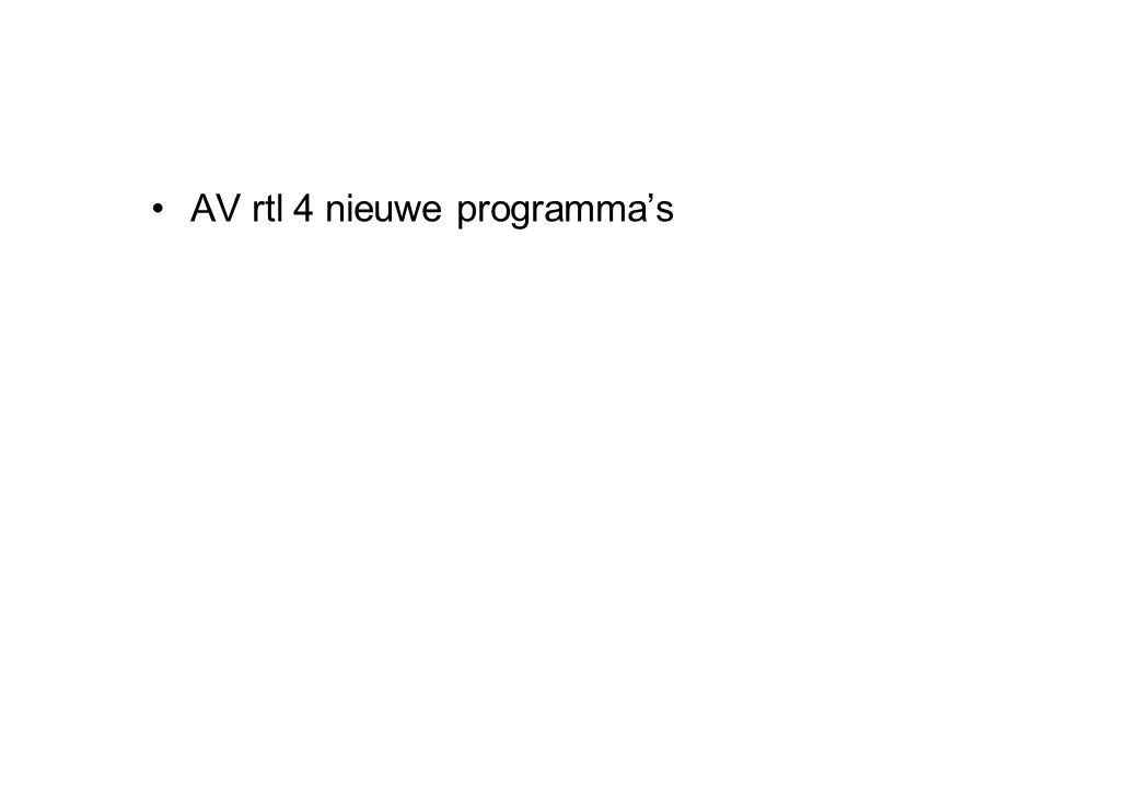 •AV rtl 4 nieuwe programma's