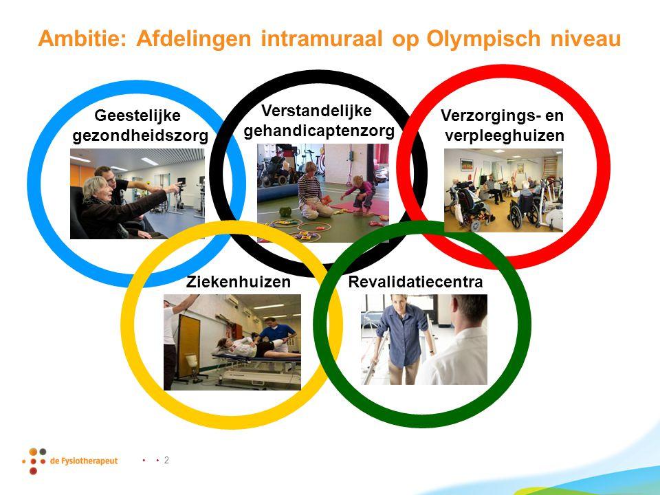• • 2 Ambitie: Afdelingen intramuraal op Olympisch niveau Geestelijke gezondheidszorg Verstandelijke gehandicaptenzorg Verzorgings- en verpleeghuizen