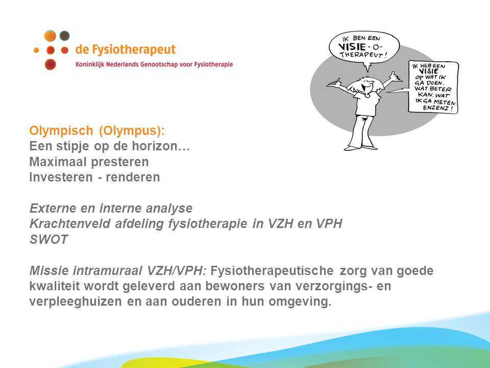 Olympisch (Olympus): Een stipje op de horizon… Maximaal presteren Investeren - renderen Externe en interne analyse Krachtenveld afdeling fysiotherapie