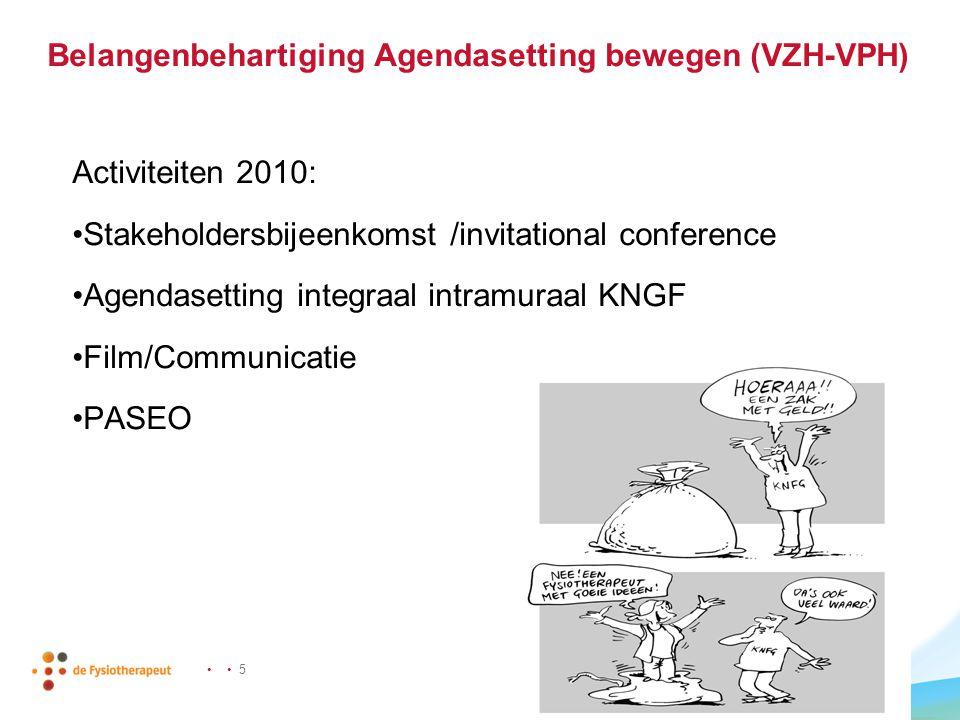 • • 5 Belangenbehartiging Agendasetting bewegen (VZH-VPH) Activiteiten 2010: •Stakeholdersbijeenkomst /invitational conference •Agendasetting integraa