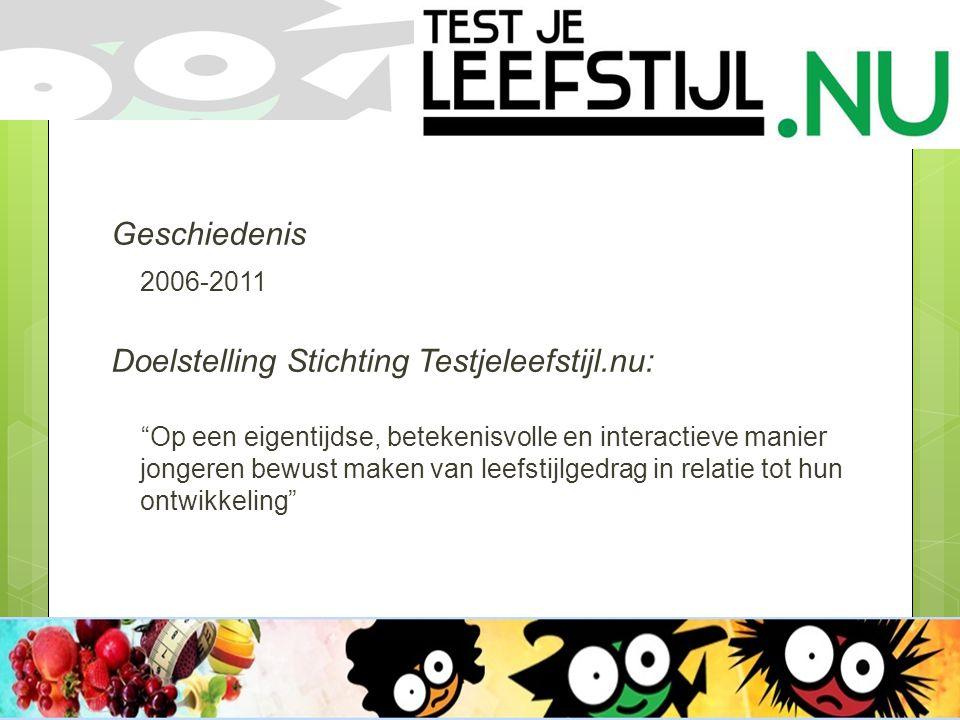 Geschiedenis 2006-2011 Doelstelling Stichting Testjeleefstijl.nu: Op een eigentijdse, betekenisvolle en interactieve manier jongeren bewust maken van leefstijlgedrag in relatie tot hun ontwikkeling