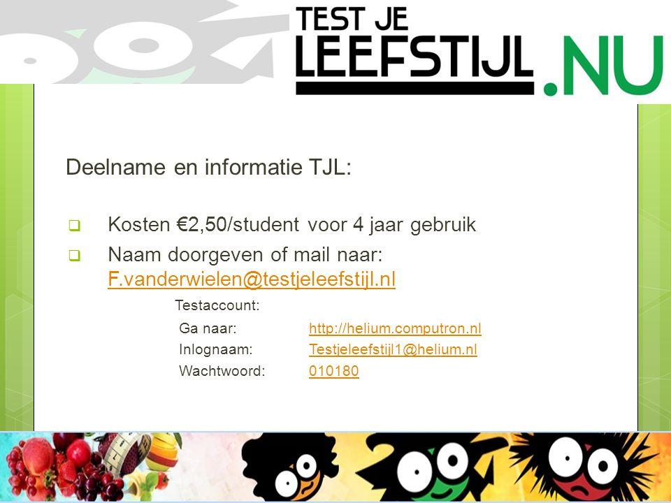 Deelname en informatie TJL:  Kosten €2,50/student voor 4 jaar gebruik  Naam doorgeven of mail naar: F.vanderwielen@testjeleefstijl.nl Testaccount: F.vanderwielen@testjeleefstijl.nl Ga naar:http://helium.computron.nlhttp://helium.computron.nl Inlognaam: Testjeleefstijl1@helium.nlTestjeleefstijl1@helium.nl Wachtwoord: 010180010180