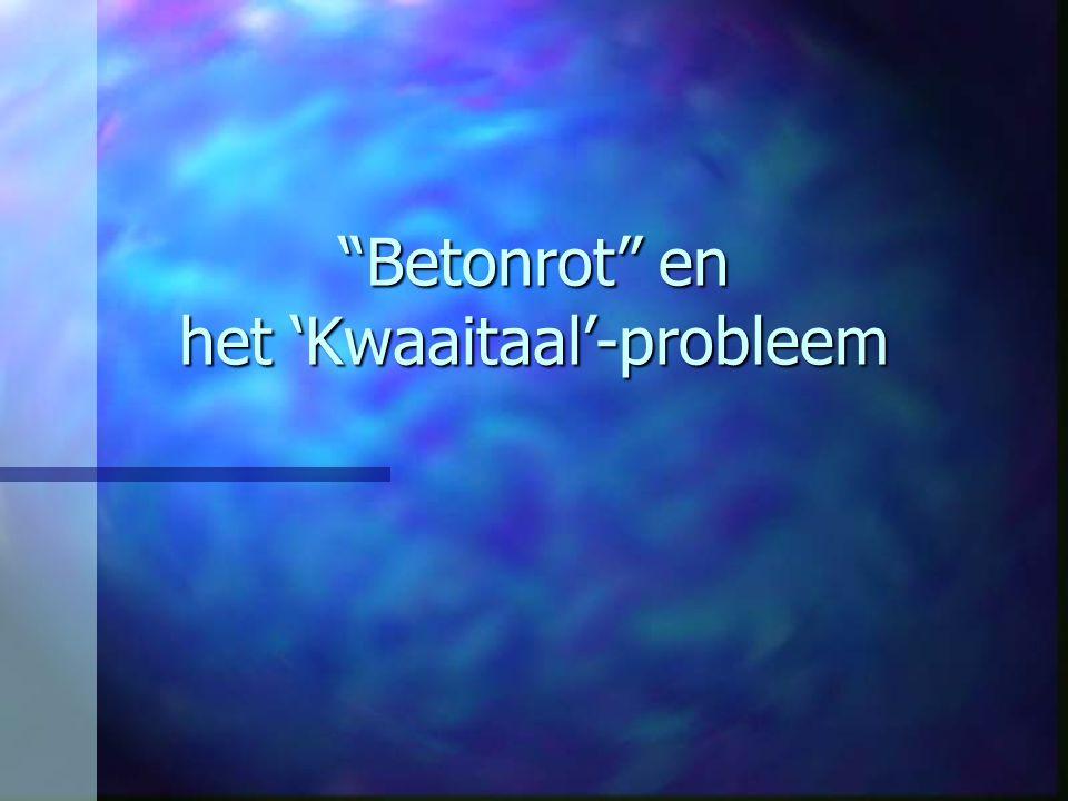 """""""Betonrot"""" en het 'Kwaaitaal'-probleem"""
