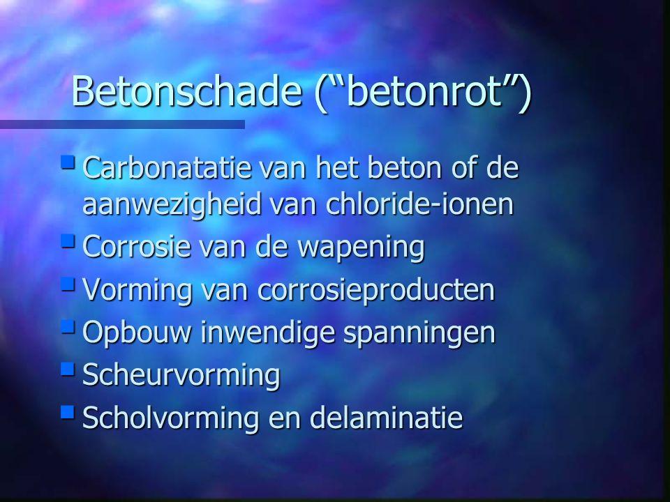 """Betonschade (""""betonrot"""")  Carbonatatie van het beton of de aanwezigheid van chloride-ionen  Corrosie van de wapening  Vorming van corrosieproducten"""