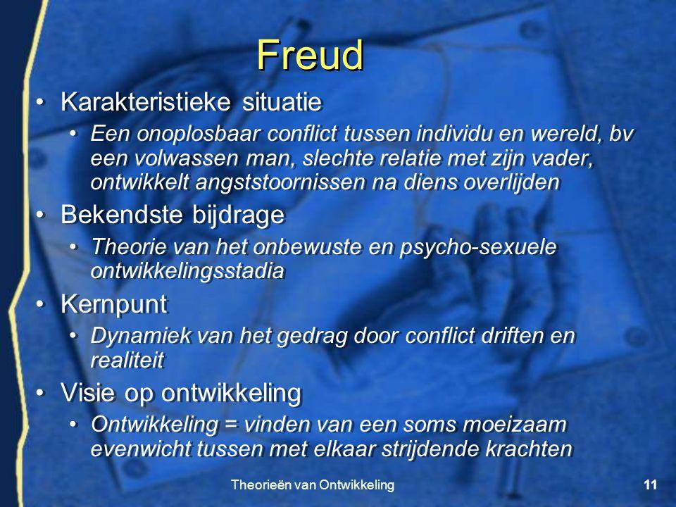 Theorieën van Ontwikkeling11 Freud •Karakteristieke situatie •Een onoplosbaar conflict tussen individu en wereld, bv een volwassen man, slechte relati