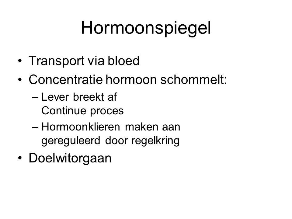 Hormoonspiegel •Transport via bloed •Concentratie hormoon schommelt: –Lever breekt af Continue proces –Hormoonklieren maken aan gereguleerd door regel