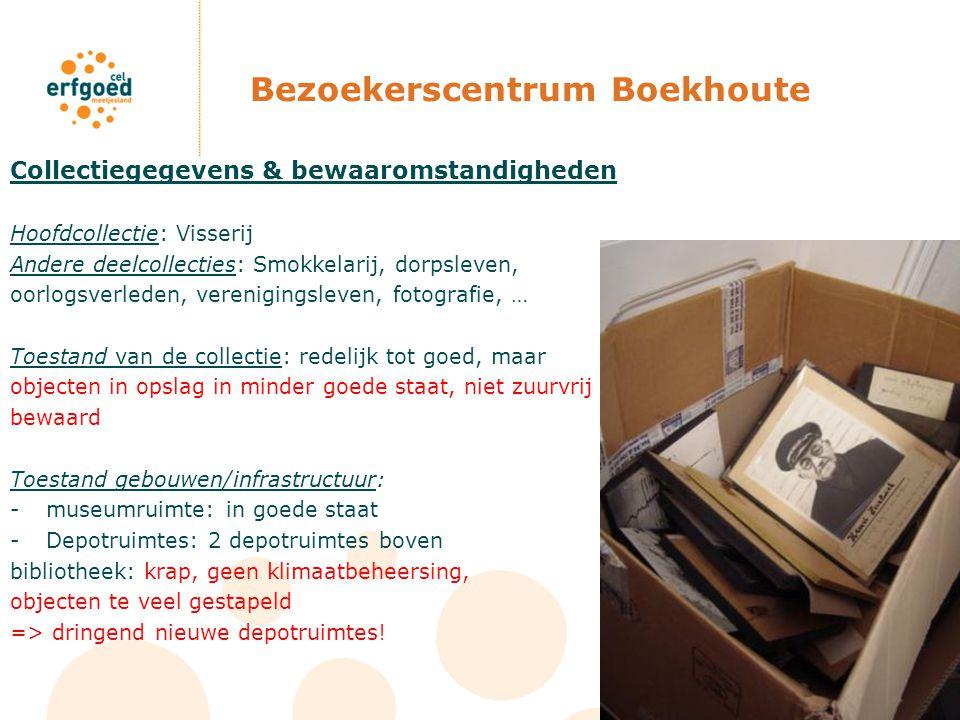 Bezoekerscentrum Boekhoute Collectiegegevens & bewaaromstandigheden Hoofdcollectie: Visserij Andere deelcollecties: Smokkelarij, dorpsleven, oorlogsve