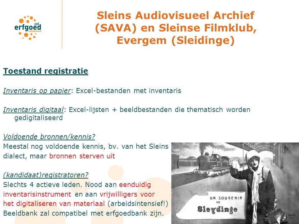 Sleins Audiovisueel Archief (SAVA) en Sleinse Filmklub, Evergem (Sleidinge) Toestand registratie Inventaris op papier: Excel-bestanden met inventaris