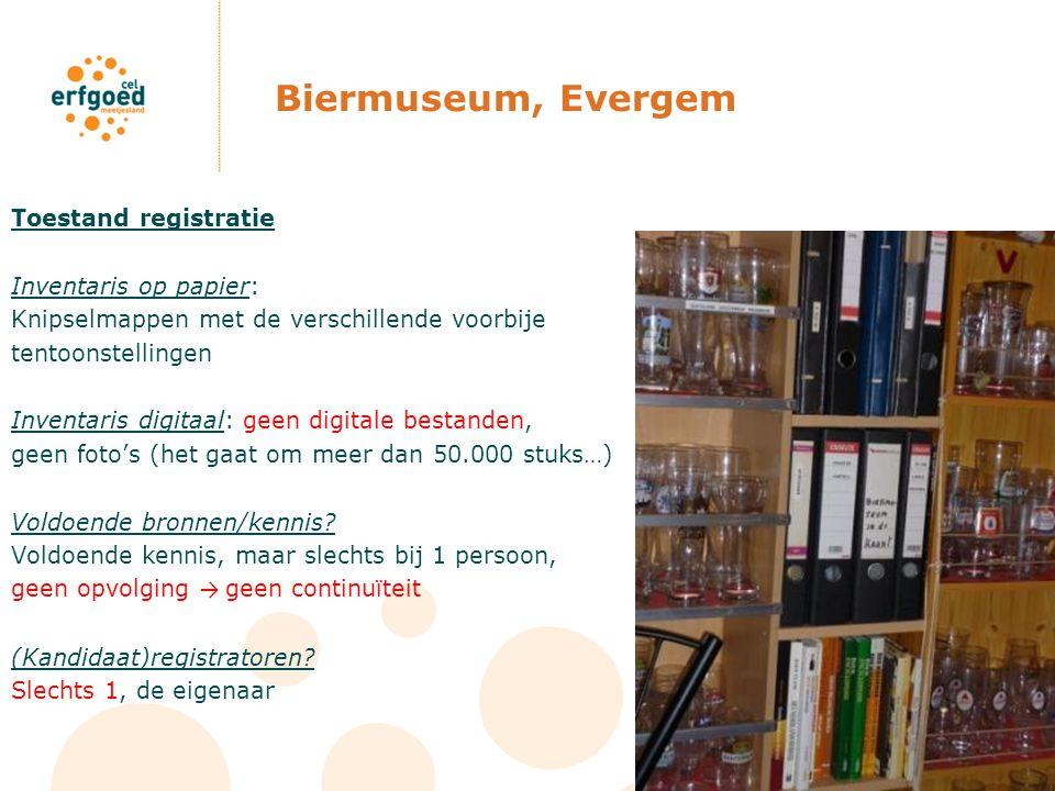 Biermuseum, Evergem Toestand registratie Inventaris op papier: Knipselmappen met de verschillende voorbije tentoonstellingen Inventaris digitaal: geen