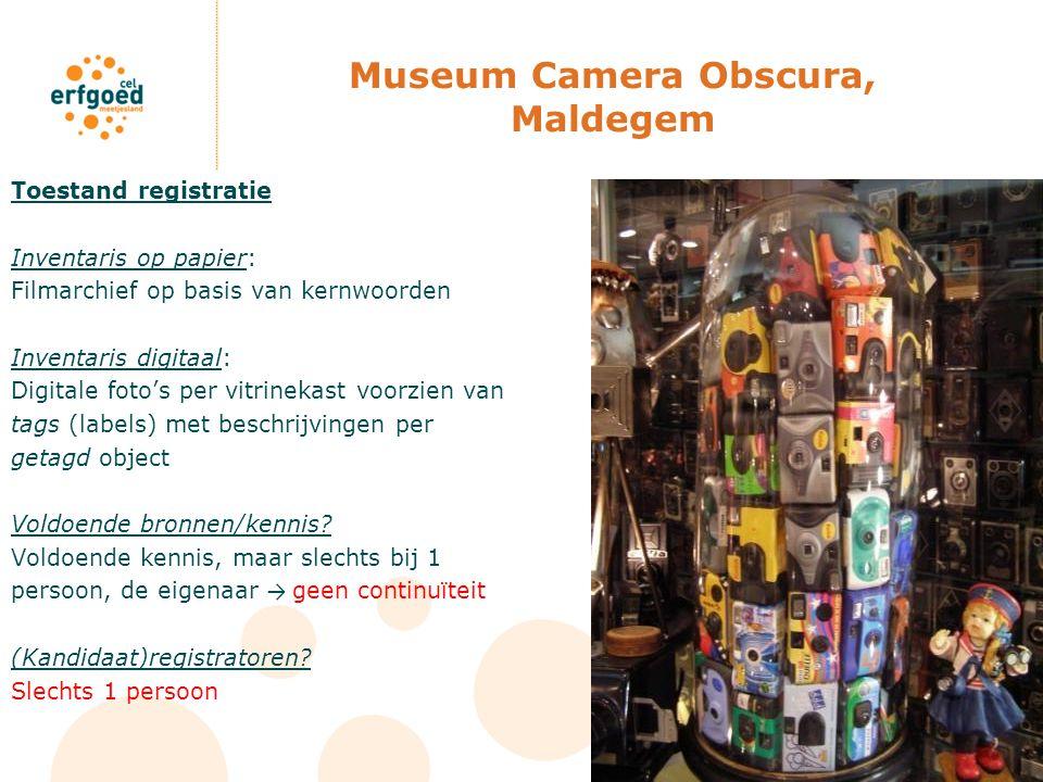 Museum Camera Obscura, Maldegem Toestand registratie Inventaris op papier: Filmarchief op basis van kernwoorden Inventaris digitaal: Digitale foto's p