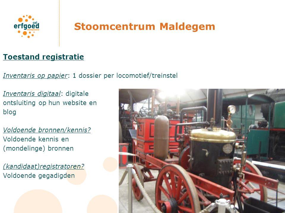 Stoomcentrum Maldegem Toestand registratie Inventaris op papier: 1 dossier per locomotief/treinstel Inventaris digitaal: digitale ontsluiting op hun w