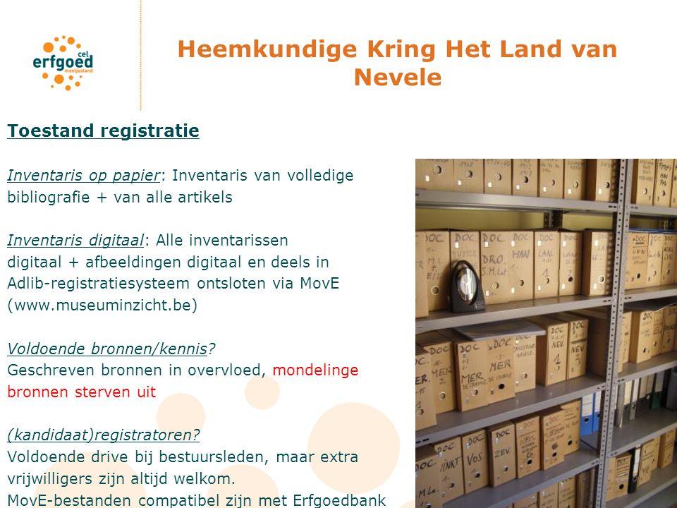 Heemkundige Kring Het Land van Nevele Toestand registratie Inventaris op papier: Inventaris van volledige bibliografie + van alle artikels Inventaris