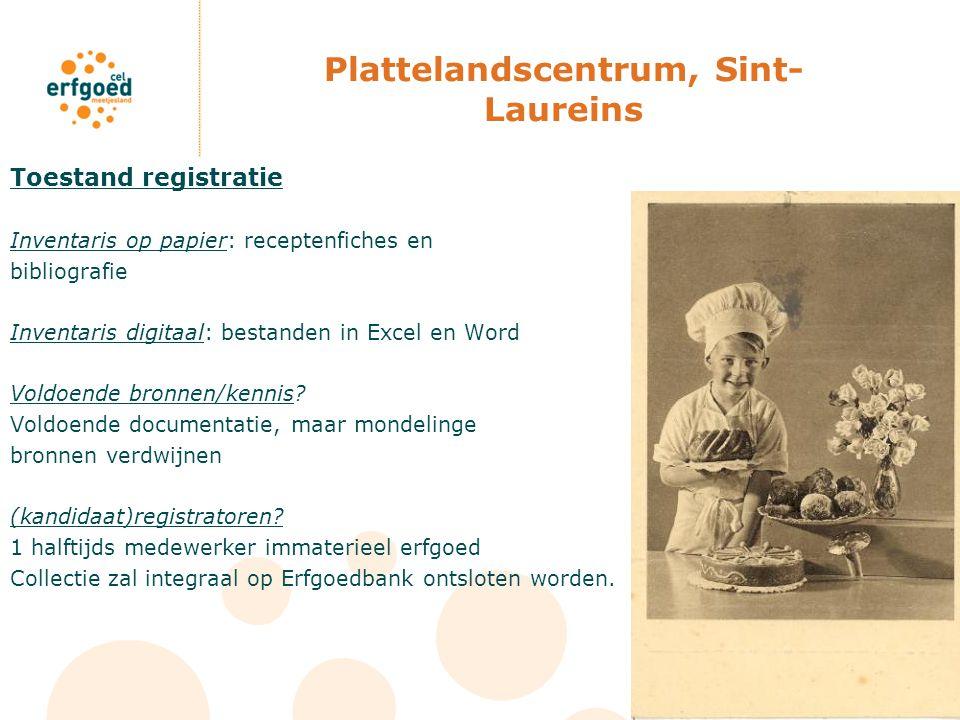 Plattelandscentrum, Sint- Laureins Toestand registratie Inventaris op papier: receptenfiches en bibliografie Inventaris digitaal: bestanden in Excel e