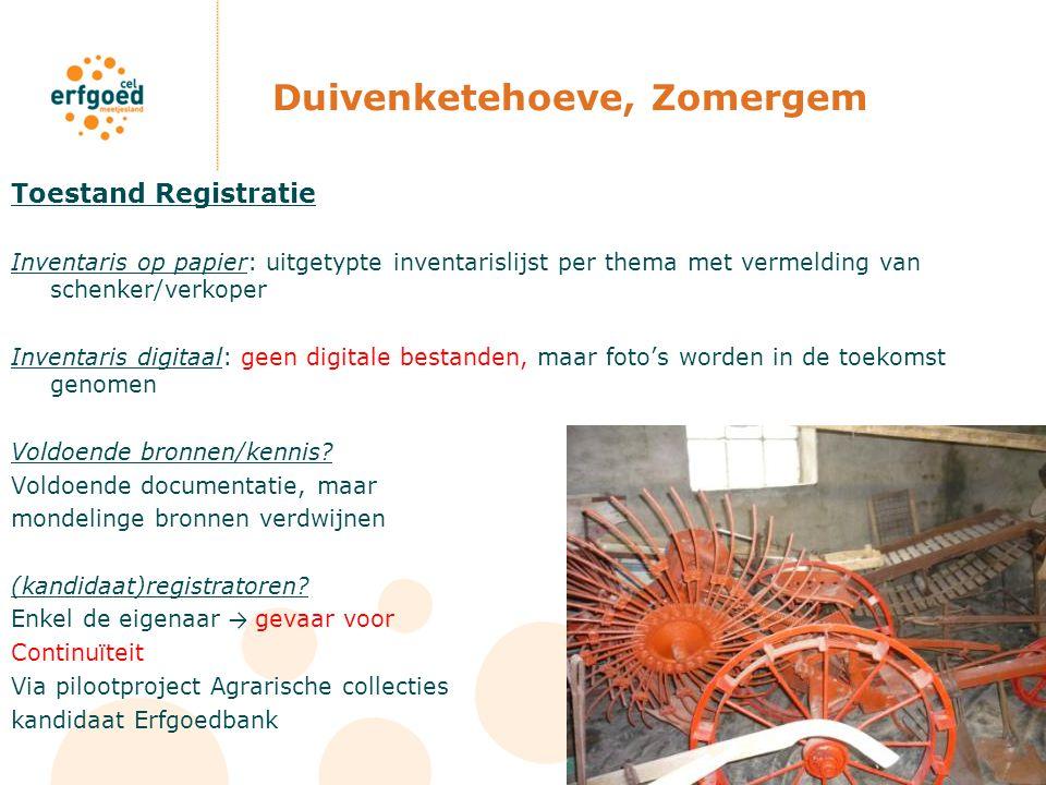 Duivenketehoeve, Zomergem Toestand Registratie Inventaris op papier: uitgetypte inventarislijst per thema met vermelding van schenker/verkoper Inventa