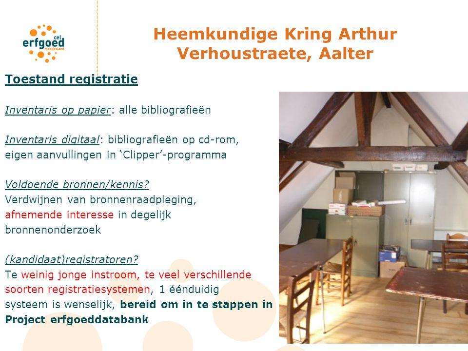 Heemkundige Kring Arthur Verhoustraete, Aalter Toestand registratie Inventaris op papier: alle bibliografieën Inventaris digitaal: bibliografieën op c