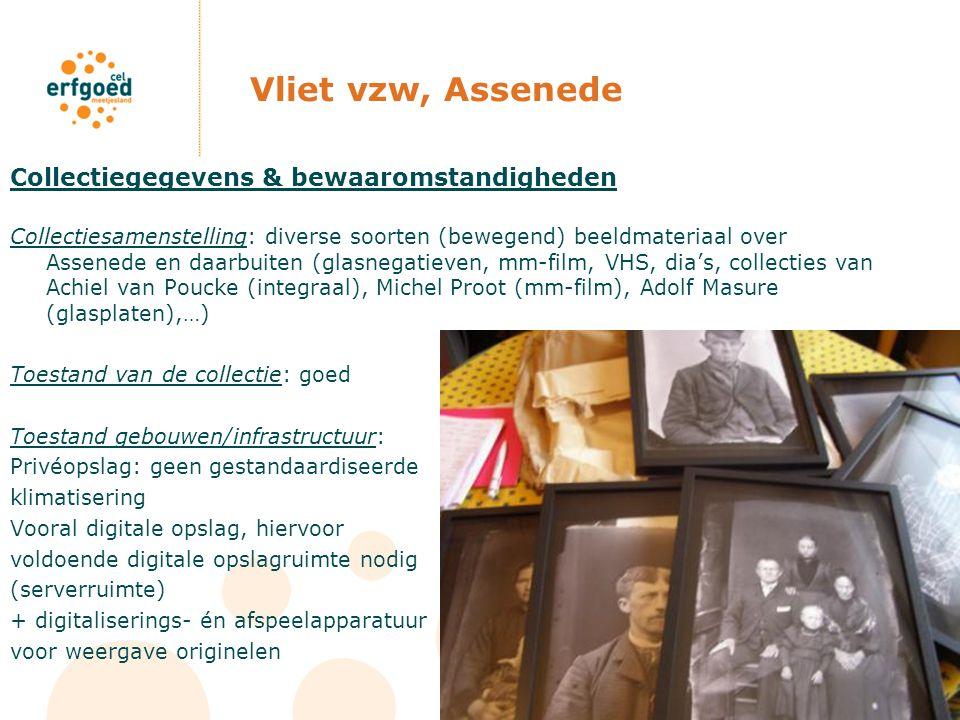 Vliet vzw, Assenede Collectiegegevens & bewaaromstandigheden Collectiesamenstelling: diverse soorten (bewegend) beeldmateriaal over Assenede en daarbu