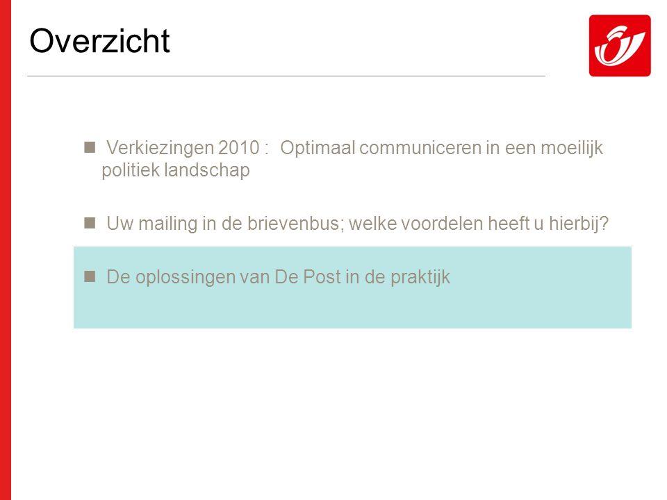 Overzicht  Verkiezingen 2010 : Optimaal communiceren in een moeilijk politiek landschap  Uw mailing in de brievenbus; welke voordelen heeft u hierbij.