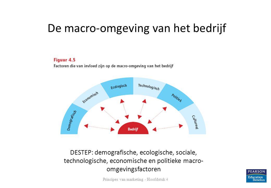 Principes van marketing - Hoofdstuk 4 13 De macro-omgeving van het bedrijf DESTEP: demografische, ecologische, sociale, technologische, economische en