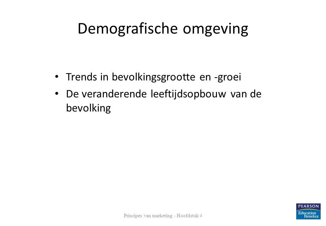 Demografische omgeving • Trends in bevolkingsgrootte en -groei • De veranderende leeftijdsopbouw van de bevolking Principes van marketing - Hoofdstuk