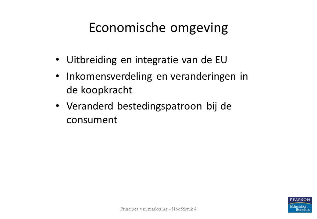 Economische omgeving • Uitbreiding en integratie van de EU • Inkomensverdeling en veranderingen in de koopkracht • Veranderd bestedingspatroon bij de