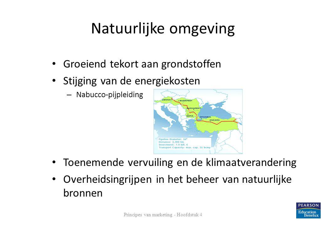 Natuurlijke omgeving • Groeiend tekort aan grondstoffen • Stijging van de energiekosten – Nabucco-pijpleiding • Toenemende vervuiling en de klimaatver