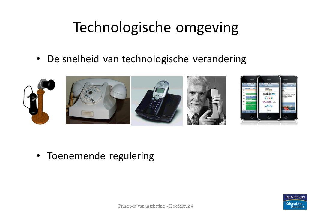 Technologische omgeving • De snelheid van technologische verandering • Toenemende regulering Principes van marketing - Hoofdstuk 4 22