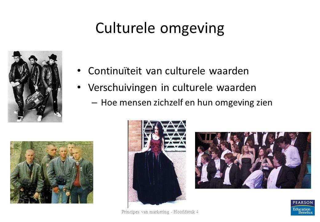Culturele omgeving • Continuïteit van culturele waarden • Verschuivingen in culturele waarden – Hoe mensen zichzelf en hun omgeving zien Principes van