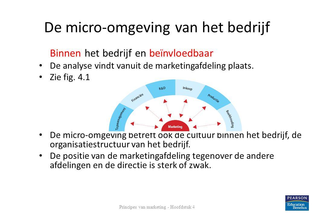De micro-omgeving van het bedrijf Binnen het bedrijf en beïnvloedbaar • De analyse vindt vanuit de marketingafdeling plaats. • Zie fig. 4.1 • De micro