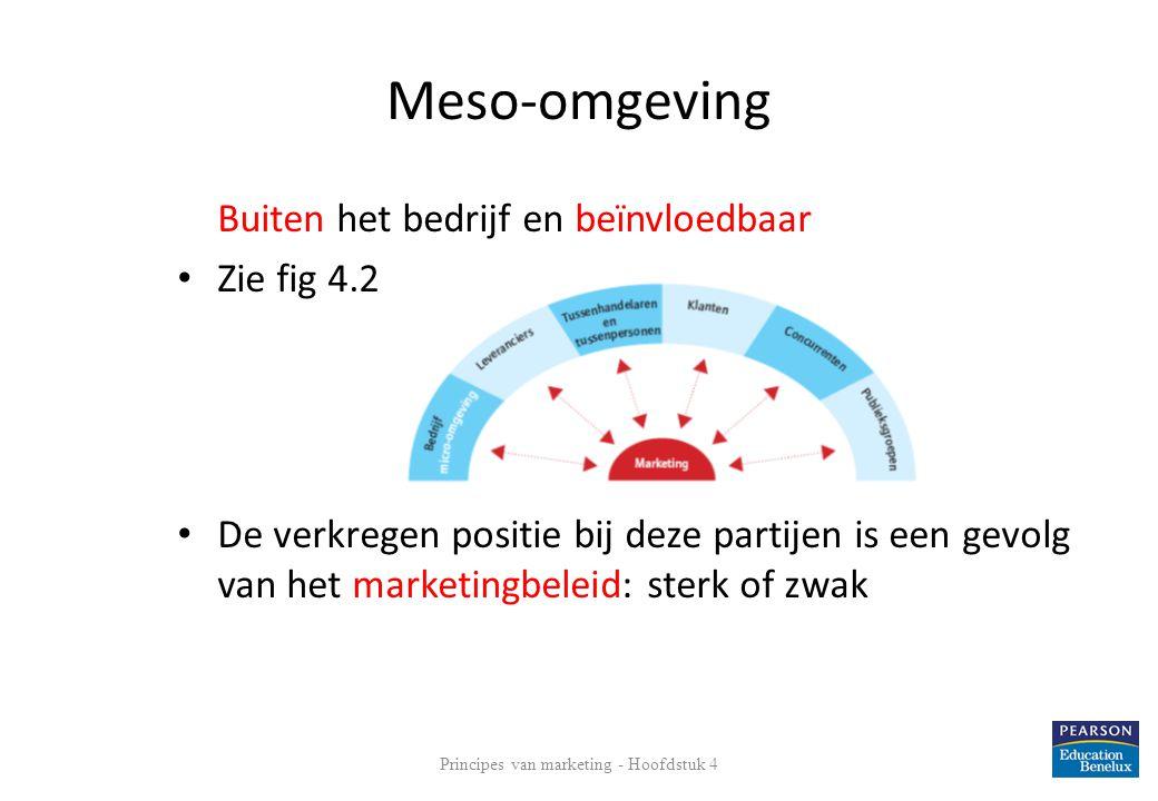 Meso-omgeving Buiten het bedrijf en beïnvloedbaar • Zie fig 4.2 • De verkregen positie bij deze partijen is een gevolg van het marketingbeleid: sterk
