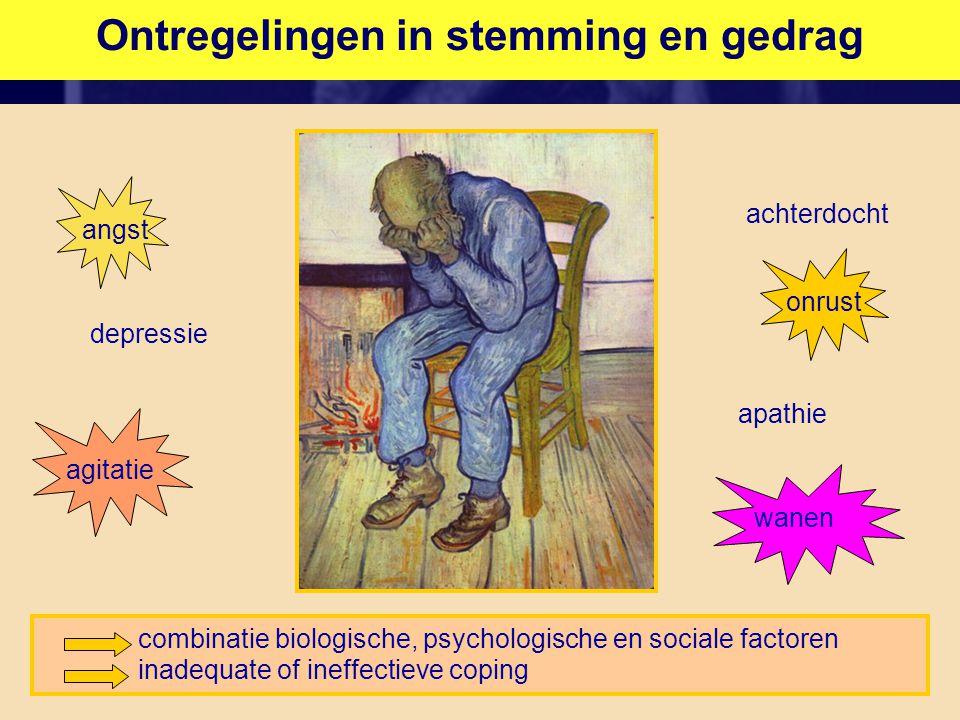 Ontregelingen in stemming en gedrag combinatie biologische, psychologische en sociale factoren inadequate of ineffectieve coping depressie angst agitatie achterdocht apathie onrust wanen