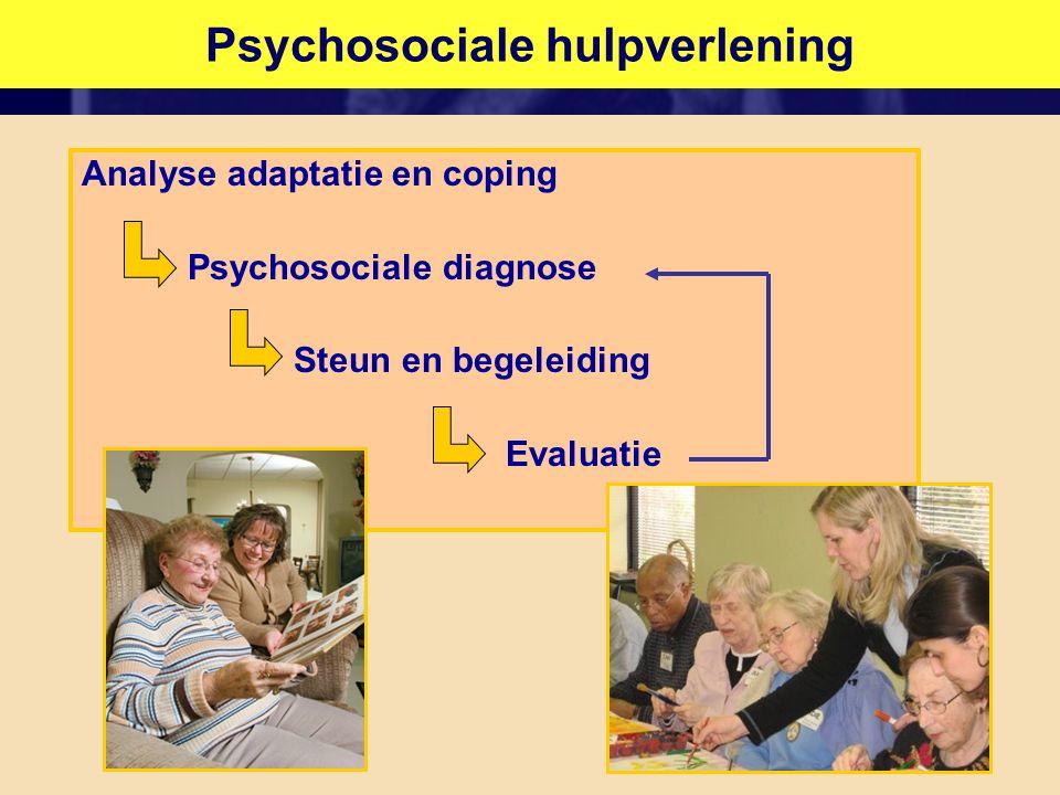 DementiezorgPsychosociale hulpverlening Analyse adaptatie en coping Psychosociale diagnose Steun en begeleiding Evaluatie