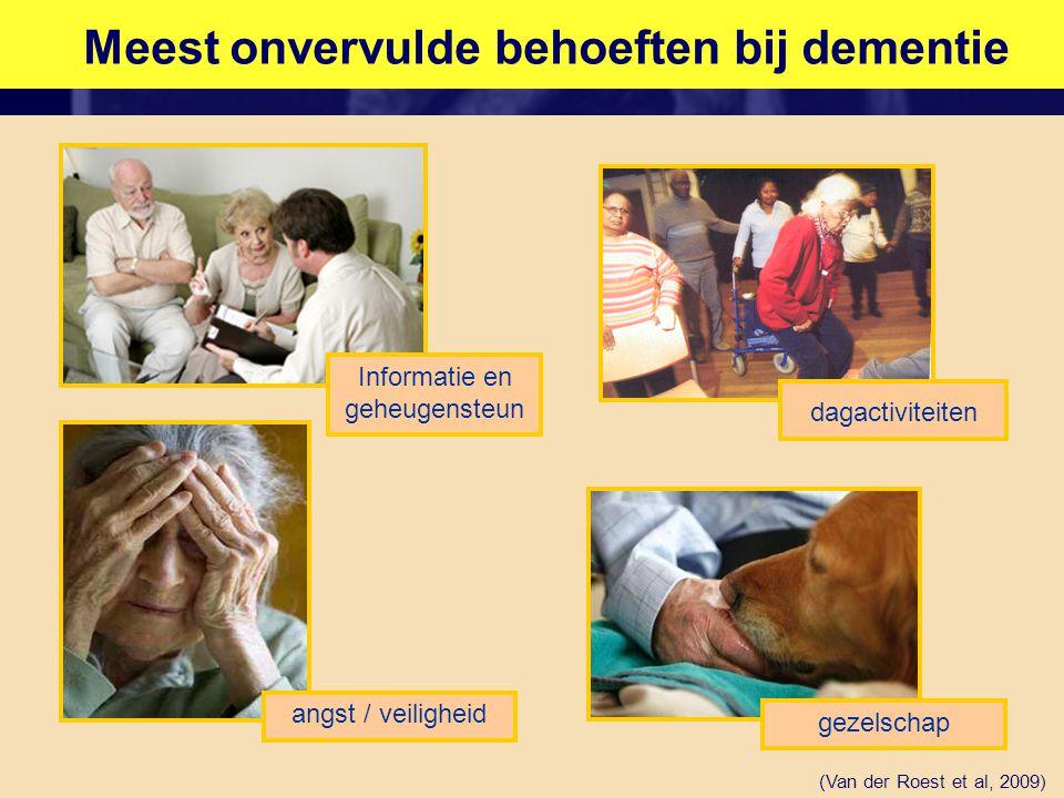 Meest onvervulde behoeften bij dementie (Van der Roest et al, 2009) Informatie en geheugensteun angst / veiligheid gezelschap dagactiviteiten