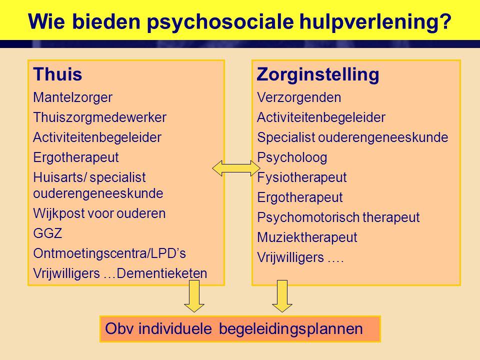 Wie bieden psychosociale hulpverlening? Thuis Mantelzorger Thuiszorgmedewerker Activiteitenbegeleider Ergotherapeut Huisarts/ specialist ouderengenees