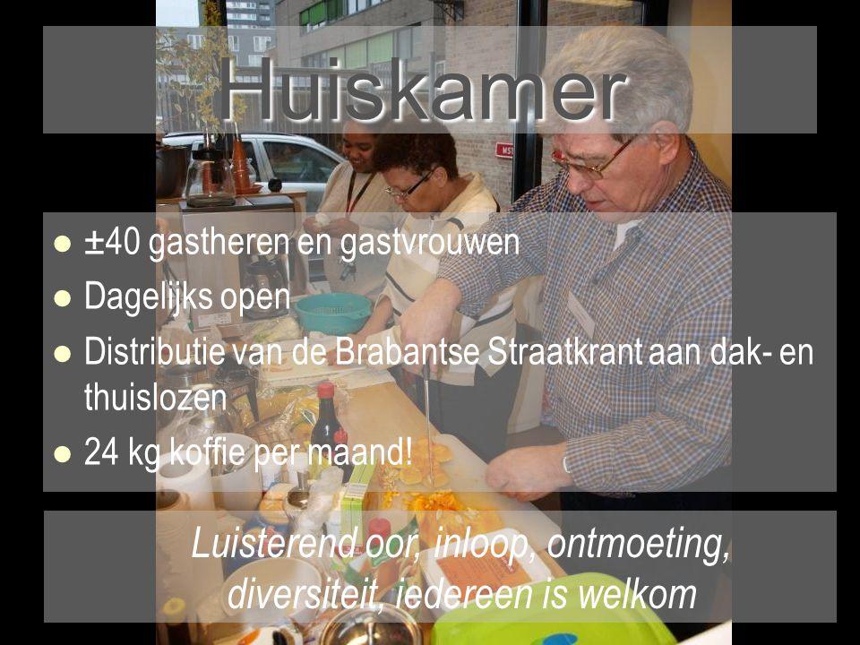 Huiskamer   ±40 gastheren en gastvrouwen   Dagelijks open   Distributie van de Brabantse Straatkrant aan dak- en thuislozen   24 kg koffie per maand.