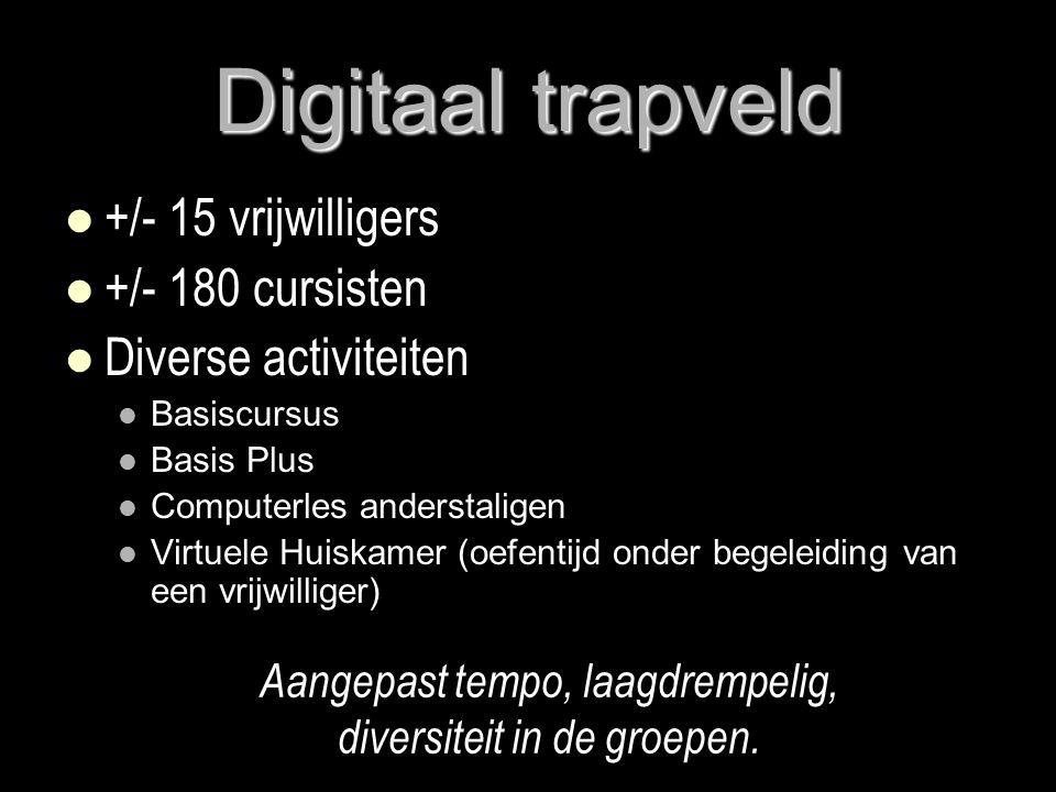 Digitaal trapveld   +/- 15 vrijwilligers   +/- 180 cursisten   Diverse activiteiten   Basiscursus   Basis Plus   Computerles anderstaligen   Virtuele Huiskamer (oefentijd onder begeleiding van een vrijwilliger) Aangepast tempo, laagdrempelig, diversiteit in de groepen.