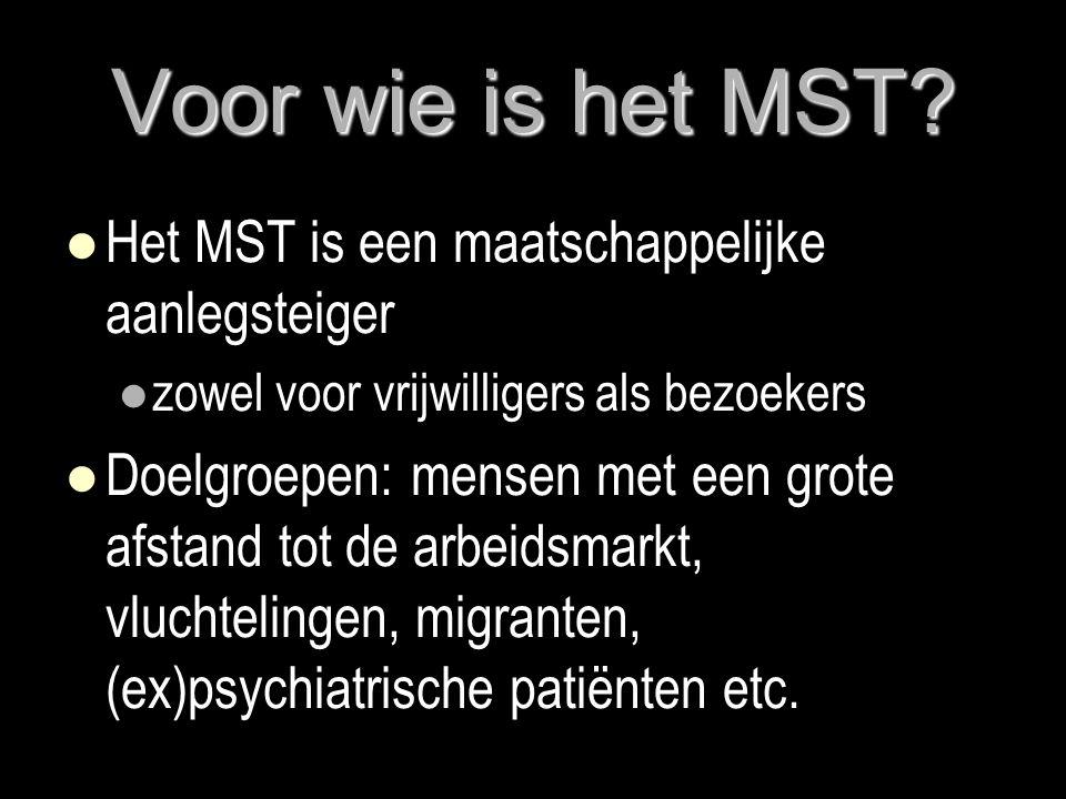 Voor wie is het MST?  Het MST is een maatschappelijke aanlegsteiger  zowel voor vrijwilligers als bezoekers  Doelgroepen: mensen met een grote afst