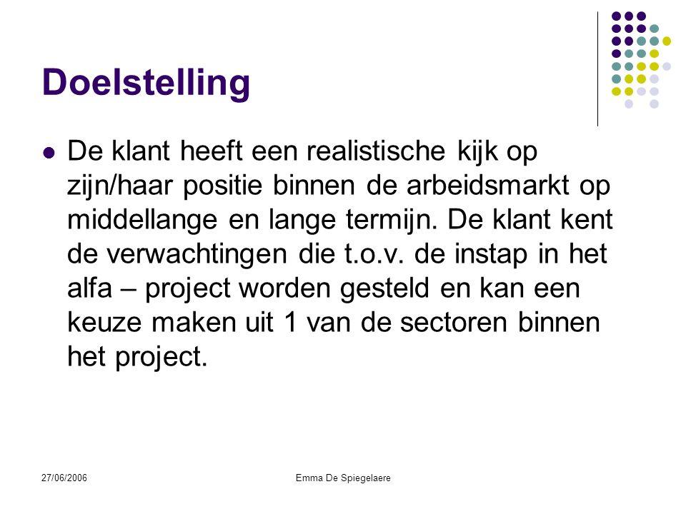 27/06/2006Emma De Spiegelaere Doelstelling  De klant heeft een realistische kijk op zijn/haar positie binnen de arbeidsmarkt op middellange en lange termijn.