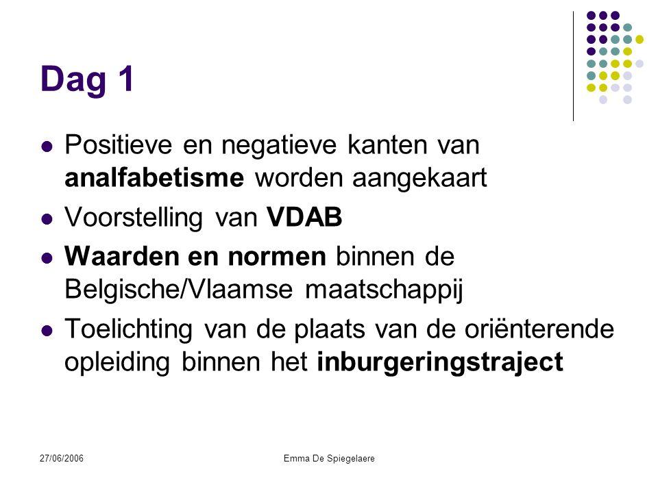 27/06/2006Emma De Spiegelaere Dag 2  Toelichting van de verschillende sectoren, vertrekkende vanuit de ervaringen van de klanten.