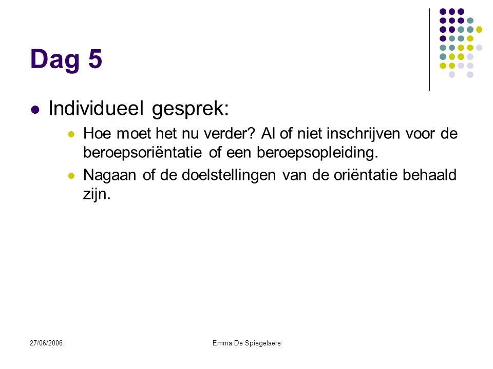 27/06/2006Emma De Spiegelaere Dag 5  Individueel gesprek:  Hoe moet het nu verder.