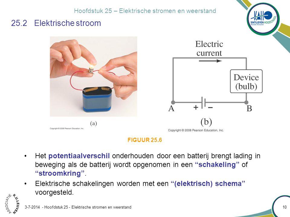 Hoofdstuk 25 – Elektrische stromen en weerstand 3-7-2014 - Hoofdstuk 25 - Elektrische stromen en weerstand 10 25.2Elektrische stroom •Het potentiaalve