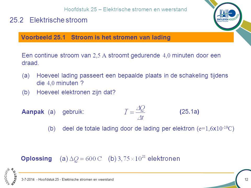 Hoofdstuk 25 – Elektrische stromen en weerstand 3-7-2014 - Hoofdstuk 25 - Elektrische stromen en weerstand 12 Voorbeeld 25.1 Stroom is het stromen van