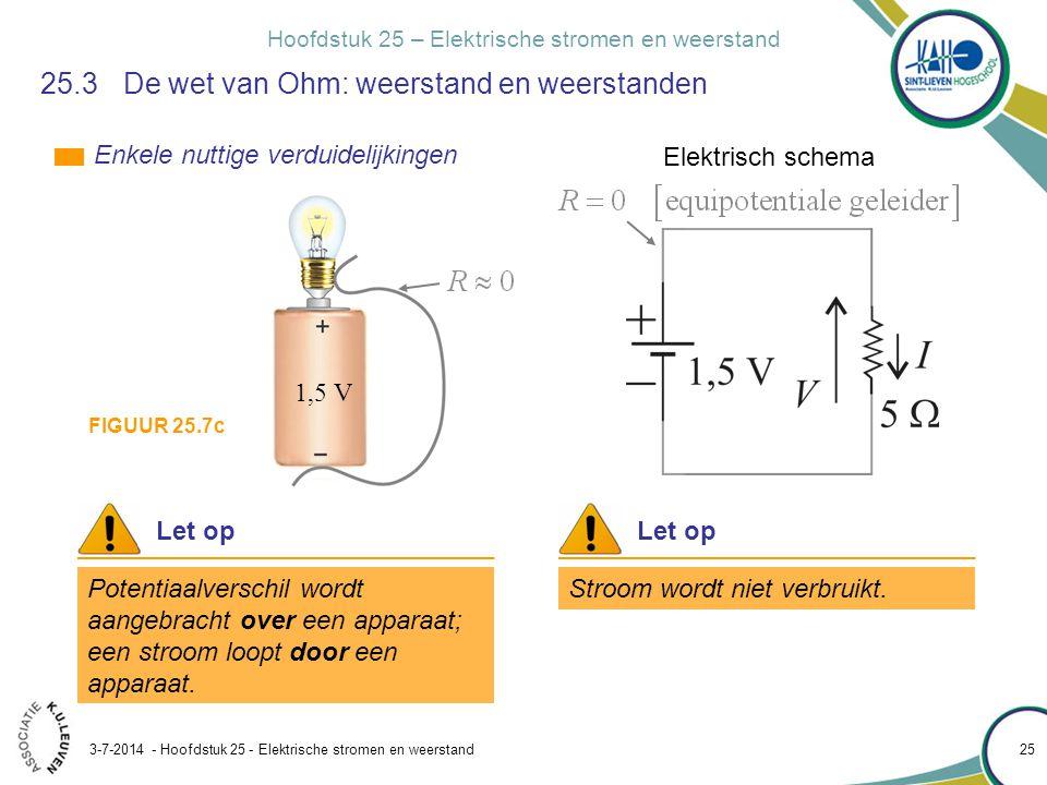 Hoofdstuk 25 – Elektrische stromen en weerstand 3-7-2014 - Hoofdstuk 25 - Elektrische stromen en weerstand 25 25.3 De wet van Ohm: weerstand en weerst
