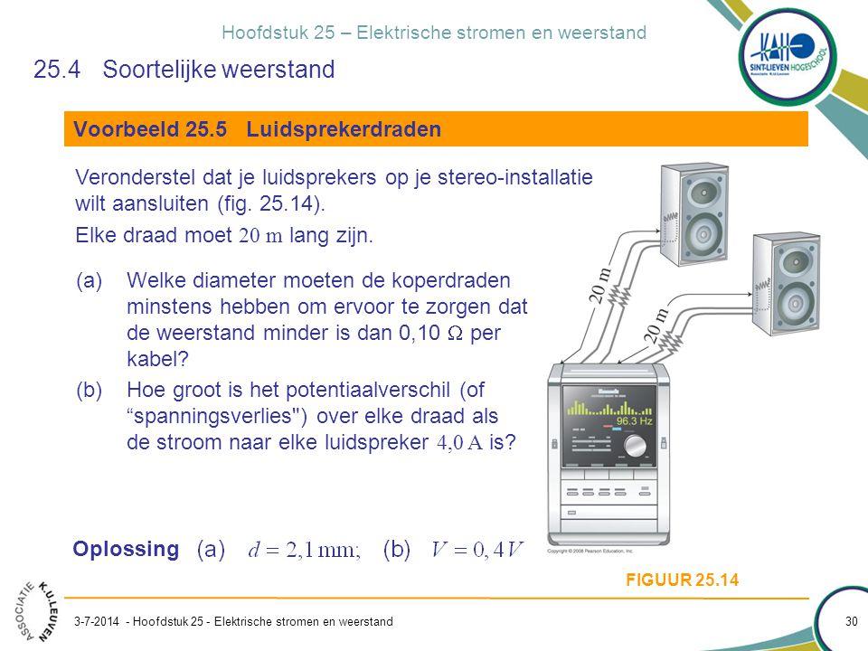 Hoofdstuk 25 – Elektrische stromen en weerstand 3-7-2014 - Hoofdstuk 25 - Elektrische stromen en weerstand 30 (a)Welke diameter moeten de koperdraden