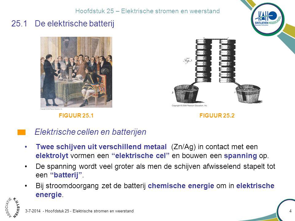 Hoofdstuk 25 – Elektrische stromen en weerstand 3-7-2014 - Hoofdstuk 25 - Elektrische stromen en weerstand 5 25.1De elektrische batterij •Een batterij bestaat uit twee metalen elektrodes in contact met een gemeenschappelijk elektrolyt.