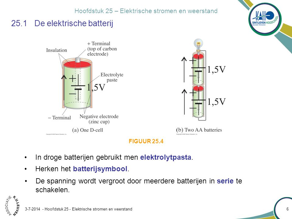 Hoofdstuk 25 – Elektrische stromen en weerstand 3-7-2014 - Hoofdstuk 25 - Elektrische stromen en weerstand 7 Conceptvoorbeeld 25.17Rekenen met spanningen 25.1De elektrische batterij spanningspijl A B 1,5 V Bij het bepalen van de totale spanning over een serieschakeling rekent men handig met spanningspijlen.