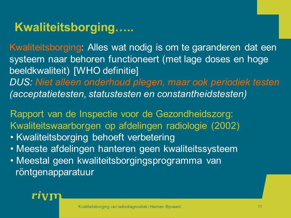 Kwaliteitsborging van radiodiagnostiek | Harmen Bijwaard11 Kwaliteitsborging….. Rapport van de Inspectie voor de Gezondheidszorg: Kwaliteitswaarborgen