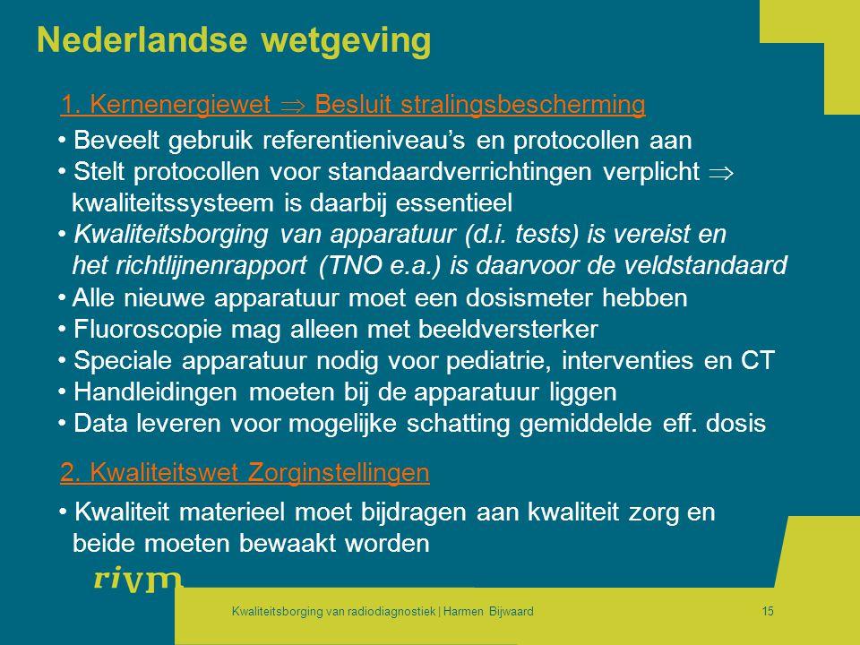Kwaliteitsborging van radiodiagnostiek | Harmen Bijwaard15 Nederlandse wetgeving 1. Kernenergiewet  Besluit stralingsbescherming • Beveelt gebruik re