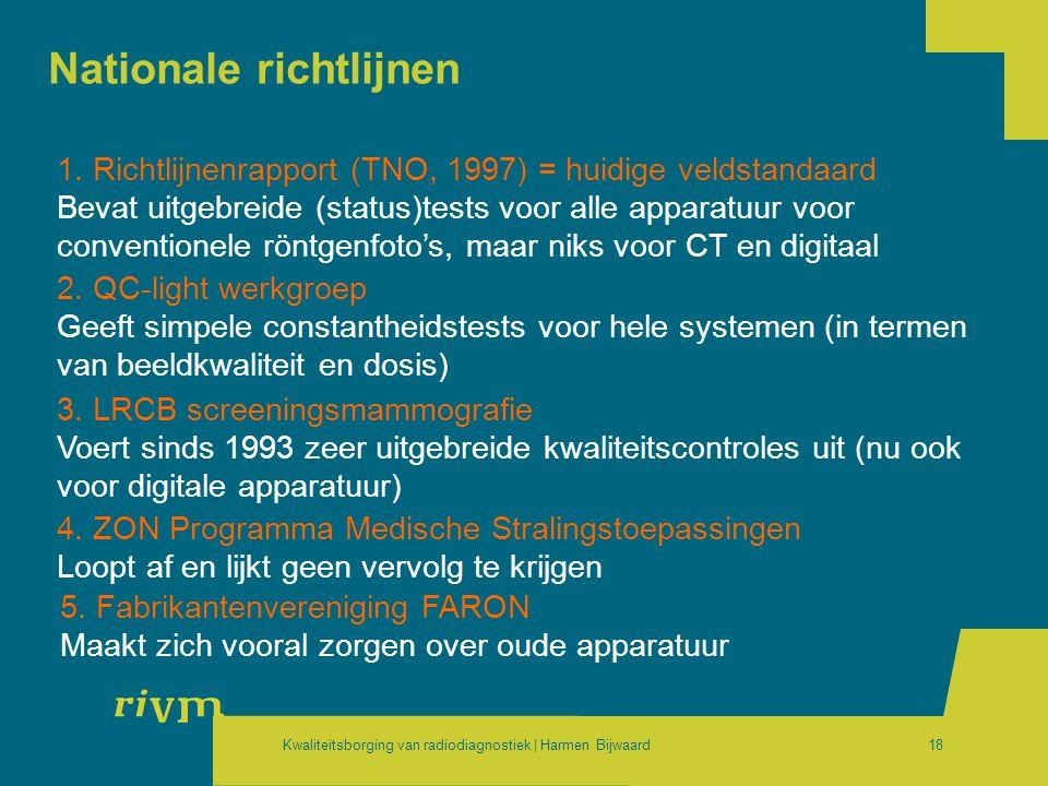 Kwaliteitsborging van radiodiagnostiek | Harmen Bijwaard18 Nationale richtlijnen 1. Richtlijnenrapport (TNO, 1997) = huidige veldstandaard Bevat uitge